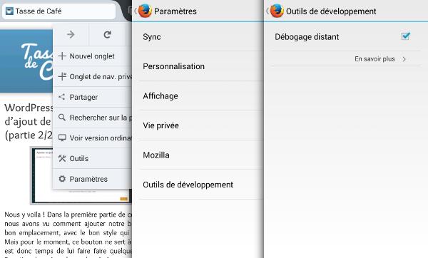 Activer le débogage distant sur Firefox pour Android