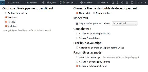 Activer le débogage distant sur Firefox